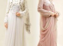 Gaun pengantin muslim modern dengan kombinasi layer dan motif polos