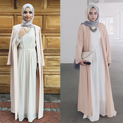 Model Baju Gamis Kaos Lengan Panjang Modis